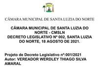Projeto de Decreto Legislativo Nº 001/2021